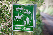 Sign for a Quiet Lane an example of countryside management, Charlcombe, near Bath, north east Somerset, England