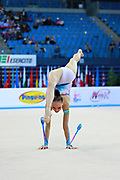 Serdyukova Anastasiya during qualifyingat at clubs in the Pesaro World Cup April 10,2015. Anastasiya is an Azerbaijani individual rhythmic gymnast, she was born on May 29, 1997 in Tashkent, Uzbekistan. Her goal is to compete at the 2020 Olympic Games in Tokyo.