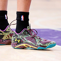 28 February 2014: Close view of Los Angeles Lakers shooting guard Kent Bazemore (6) shoes during the Los Angeles Lakers 126-122 victory over the Sacramento Kings at the Staples Center, Los Angeles, California, USA.