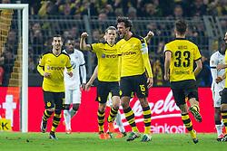 "13.12.2015, Signal Iduna Park, Dortmund, GER, 1. FBL, Borussia Dortmund vs Eintracht Frankfurt, 16. Runde, im Bild Henrikh ""Micki"" Mkhihtaryan (Borussia Dortmund #10), Kapitaen Mats Hummels (Borussia Dortmund #15), Sven Bender (Borussia Dortmund #6) und Julian Weigl (Borussia Dortmund #33) beim Torjubel nach dem Treffer zum 3:1 // during the German Bundesliga 16th round match between Borussia Dortmund and Eintracht Frankfurt at the Signal Iduna Park in Dortmund, Germany on 2015/12/13. EXPA Pictures © 2015, PhotoCredit: EXPA/ Eibner-Pressefoto/ Schueler<br /> <br /> *****ATTENTION - OUT of GER*****"