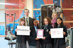 Year eight pupils from The Priory Academy LSST have won a in-house school competition, judged by Lincolnshire Sport, to create a video inspired by the This Girl Can.  Pictured, from, Emily Moore, Joanna Moomba, Heather Addo-Smith and Aleena James (all 13).  Also pictured, is Marc Rhodes and Lynsey Norris from Lincolnshire Sport.