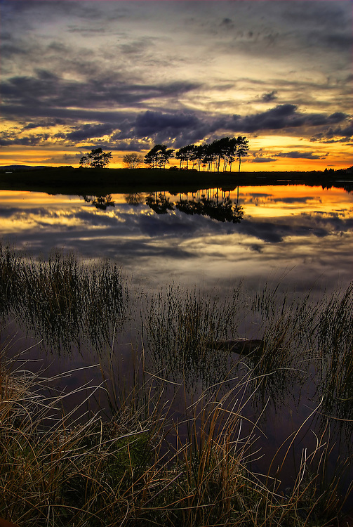 Knapps Loch just after sunset. Near Kilmacolm, Inverclyde.