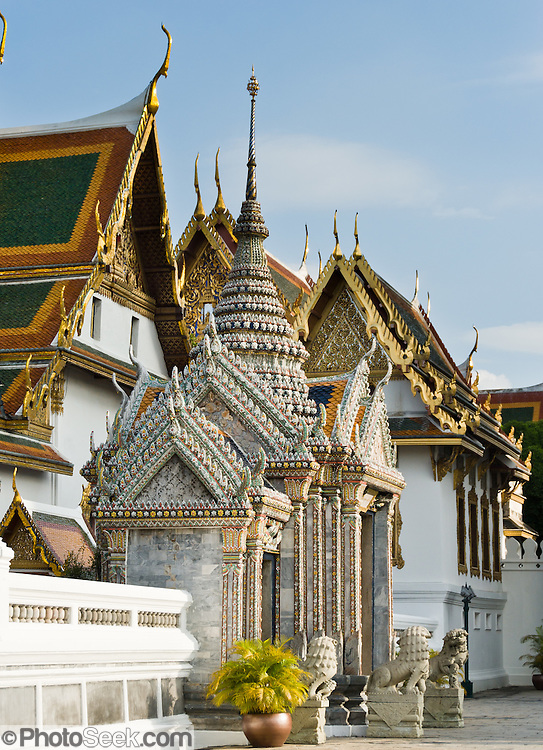 Snamchand Pavilion is one of many ornate structures in the Grand Palace in Bangkok, Thailand. The Grand Palace (Phra Borom Maha Ratcha Wang) was built on the east bank of the Chao Phraya River starting in 1782, during the reign of Rama I. It served as the official residence of the king of Thailand from the 1700s to mid 1900s.