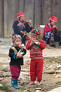 Hilltribe villages around Sapa. Red Dzao boys.