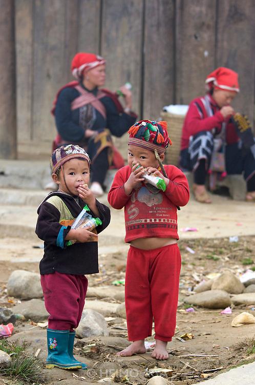 Hilltribe villages around Sapa. Red Dzao boys.