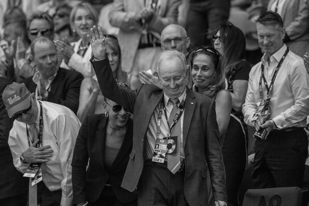 Rod Laver on day nine of the 2018 Australian Open in Melbourne Australia on Wednesday January 24, 2018.<br /> (Ben Solomon/Tennis Australia)