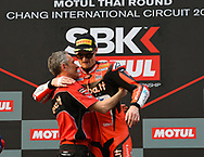 BURIRAM, THAILAND - MARCH 25: Chaz Davies (#7) of Great Britain and Aruba.it Racing – Ducati on the podium during Day 3 at the Motul Thai Round Superbike World Championship 2018, Chang International Circuit, Buriram, Thailand on March 25, 2018.<br /> .<br /> .<br /> .<br /> (Photo by: Naratip Golf Srisupab/SEALs Sports Images)<br /> .<br /> Any image use must include a mandatory credit line adjacent to the content which should read: Naratip Golf Srisupab/SEALs Sports Images
