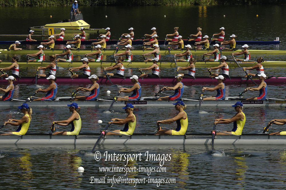 2006, U23 Rowing Championships, Hazewinkel, BELGIUM Friday, 21.07.2006. Start BW8+ top to bottom, CAN BW8+, AUS BW8+, BLR W8+, GER BW8+, RUS BW8+, URK BW8+, Photo  Peter Spurrier/Intersport Images email images@intersport-images.com....[Mandatory Credit Peter Spurrier/ Intersport Images] Rowing Course, Bloso, Hazewinkel. BELGUIM