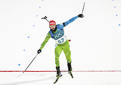 PYEONGCHANG-GUN, SOUTH KOREA - FEBRUARY 15: Second placed Jakov Fak of Slovenia finishes during the Men's 20km Individual Biathlon at Alpensia Biathlon Centre on February 15, 2018 in Pyeongchang-gun, South Korea. Photo by Chine Nouvelle/SIPA