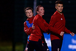 CARDIFF, WALES - Wednesday, January 16, 2019: Wales' Helen Ward (L), Hayley Ladd (C) and Grace Horrell (R) during a training session at Dragon Park ahead of the International Friendly game against Italy. (Pic by David Rawcliffe/Propaganda)