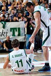 Goran Dragic and Goran Jagodnik of Slovenia at exhibition game between Slovenia and Poland for Primus Trophy 2011Lithuania as part of exhibition games before European Championship L2011on July 23, 2011, in Ljudski Vrt, Ptuj, Slovenia. (Photo by Matic Klansek Velej / Sportida)