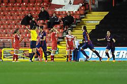 FC Barcelona's Jennifer Hermoso celebrates her goal - Photo mandatory by-line: Dougie Allward/JMP - Mobile: 07966 386802 - 13/11/2014 - SPORT - Football - Bristol - Ashton Gate - Bristol Academy Womens FC v FC Barcelona - Women's Champions League
