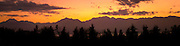 Hood Canal and Olympic Mountains after sunset from the Kitsap Peninsula in Puget Sound, Washington state, USA pan