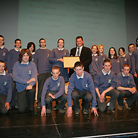 Members of Transition Year St. Flannans  being presenteded with their Young Citizen Award by Cllr Pat Hayes, Cathoirleach of Clare County Development Board in Glor<br /> Pic.Brian Gavin/Press 22