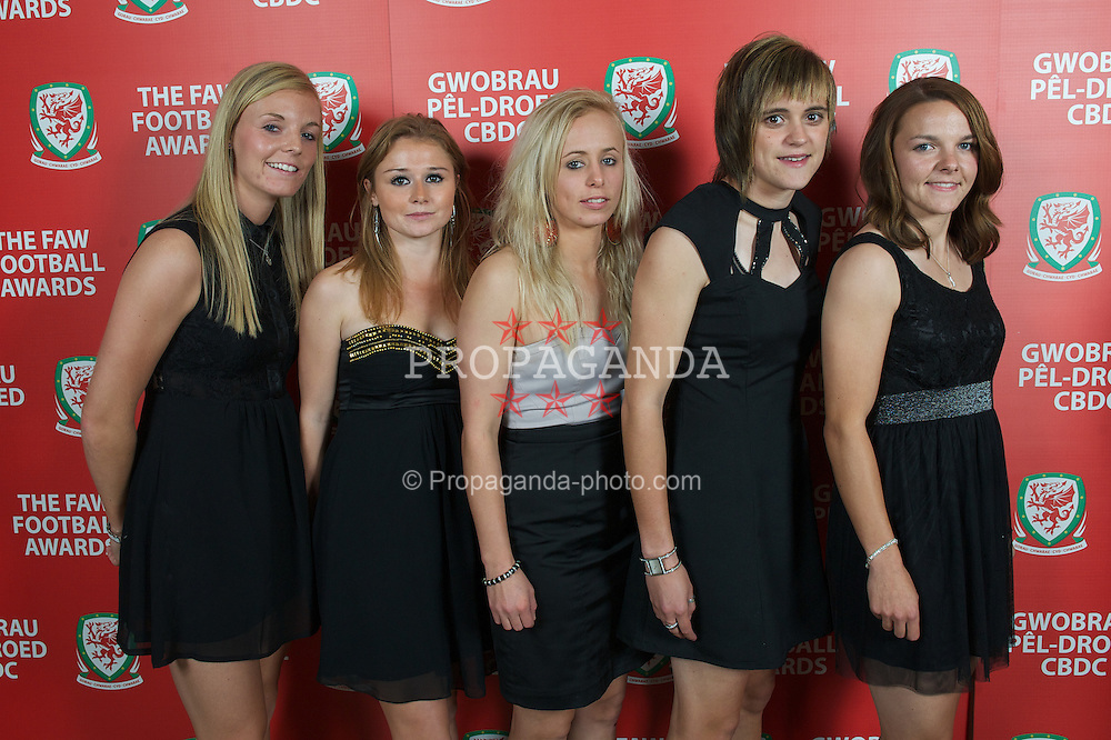 CARDIFF, WALES - Monday, October 8, 2012: Wales' Sophie Ingle, Sarah Wiltshire, Nadia Lawrence, Rhian Knokes and Loren Dykes during the FAW Player of the Year Awards Dinner at the National Museum Cardiff. (Pic by David Rawcliffe/Propaganda)