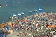 Aerial view of Manzanillo containers port. Colon City, Colon province, Panama, Central America.