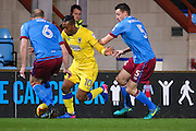 AFC Wimbledon forward Dominic Poleon (10) takes on the Scunthorpe United defence during the EFL Sky Bet League 1 match between Scunthorpe United and AFC Wimbledon at Glanford Park, Scunthorpe, England on 28 February 2017. Photo by Simon Davies.