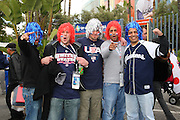 LOS ANGELES, CA - MARCH 22: Fans of USA with red white and blue wigs cheer for their team as they get ready for the game against Japan in game two of the semifinal round of the 2009 World Baseball Classic at Dodger Stadium in Los Angeles, California on Sunday March 22, 2009. Japan defeated USA 9-4. (Photo by Paul Spinelli/WBCI/MLB Photos)