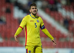 WREXHAM, WALES - Tuesday, November 17, 2015: Romania's captain Deian Boldor during the UEFA Under-21 Championship Qualifying Group 5 match against Wales at the Racecourse Ground. (Pic by David Rawcliffe/Propaganda)