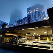 Parking garage near 11th & Baltimore on a foggy afternoon in downtown Kansas City, MO.