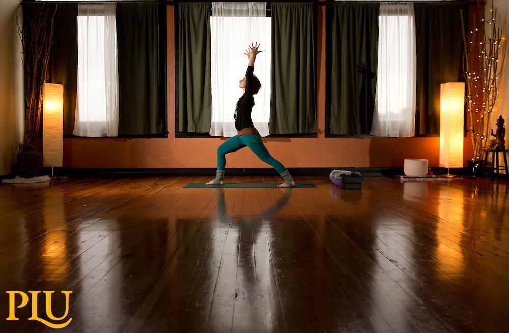 Kate Fontana '08, at Samdhana-Karana Yoga in Tacoma, WA on Dec. 1, 2015. (Photo: John Froschauer)
