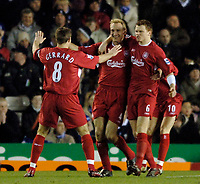 Photo: Glyn Thomas.<br />Birmingham City v Liverpool. The FA Cup. 21/03/2006.<br /> Liverpool's Sami Hyypia (C) celebrates giving his side a 1-0 lead.