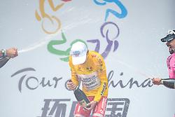 September 24, 2017 - Zhuhai, Guangdong, China - The 2017 Tour of China 2 Winner, Kevin Rivera Serran (Androni Sidermec Bottecchia), celebrates his win with Mirko Trosino (Wilier Triestina - Selle Italia) and Mauricio Ortega Ramirez (RTS - Monton Racing Team) during the Awards Ceremony. .On Sunday, 24 September 2017, in Hengqin district, Zhuhai City, Guangdong Province, China. (Credit Image: © Artur Widak/NurPhoto via ZUMA Press)