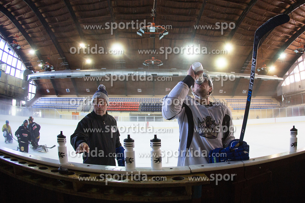 Anze Kopitar, NHL star and player of Los Angeles Kings and Matjaz Kopitar during practice session and press conference before Kopitar's departure to USA, on August 28, 2014 in Ledna dvorana Bled, Slovenia. Photo by Matic Klansek Velej  / Sportida.com