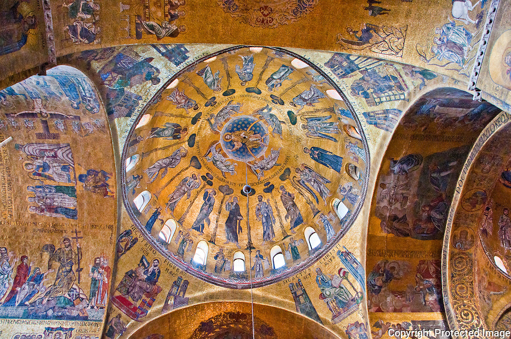 The golden mosaic, tiled ceiling of the main dome of St. Mark's Basilica.