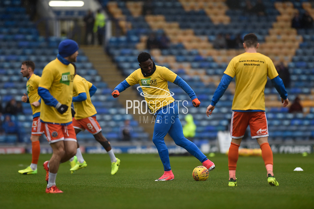 Shrewsbury Town Players warm up before kick off in kick it out t-shirts during the EFL Sky Bet League 1 match between Portsmouth and Shrewsbury Town at Fratton Park, Portsmouth, England on 27 January 2018. Photo by Adam Rivers.