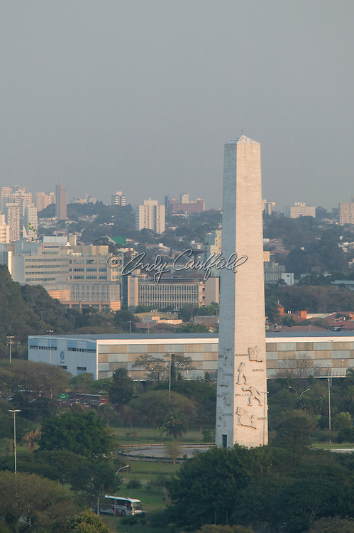 Obelisk and Bienal at Ibirapuera Park, Sao Paulo, Brazil.