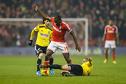 Michail Antonio of Nottingham Forest is challenged by Jake Bidwell of Brentford - Photo mandatory by-line: Rogan Thomson/JMP - 07966 386802 - 05/11/2014 - SPORT - FOOTBALL - Nottingham, England - City Ground - Nottingham Forest v Brentford - Sky Bet Championship.