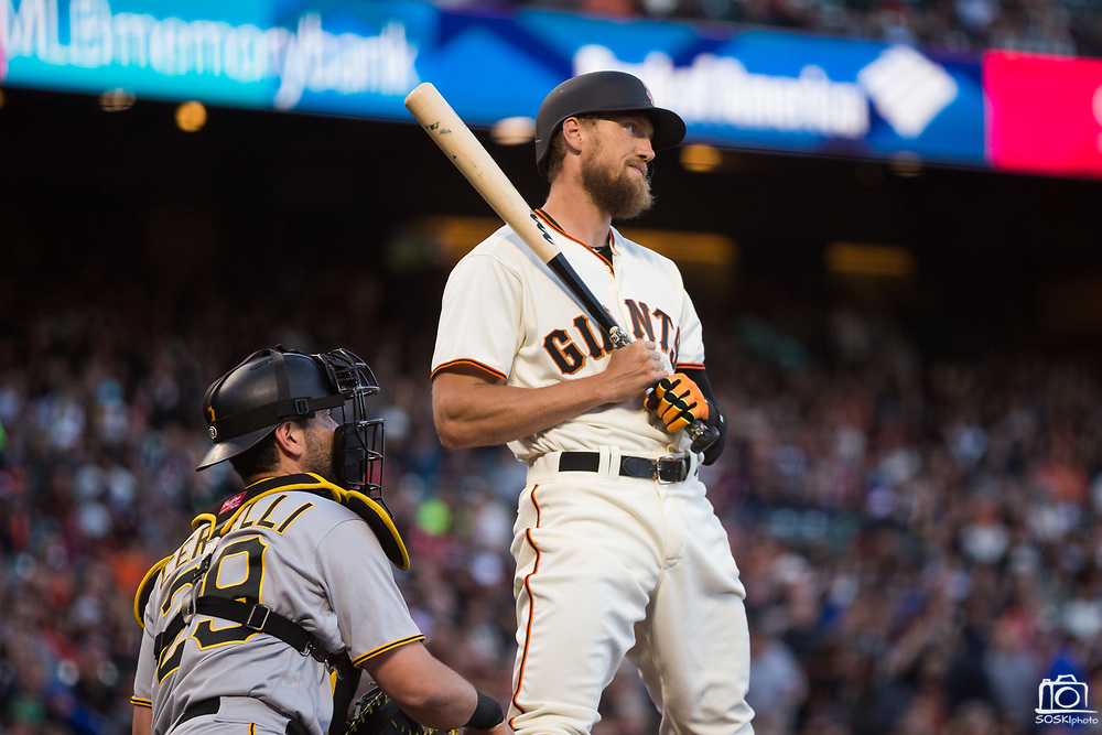 San Francisco Giants right fielder Hunter Pence (8) reacts to a strike call while at bat against the Pittsburgh Pirates at AT&T Park in San Francisco, California, on July 25, 2017. (Stan Olszewski/Special to S.F. Examiner)