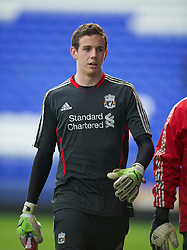LIVERPOOL, ENGLAND - Tuesday, March 6, 2012: Liverpool's goalkeeper Daniel Ward before the FA Premier Reserve League match against Everton at Goodison Park. (Pic by David Rawcliffe/Propaganda)