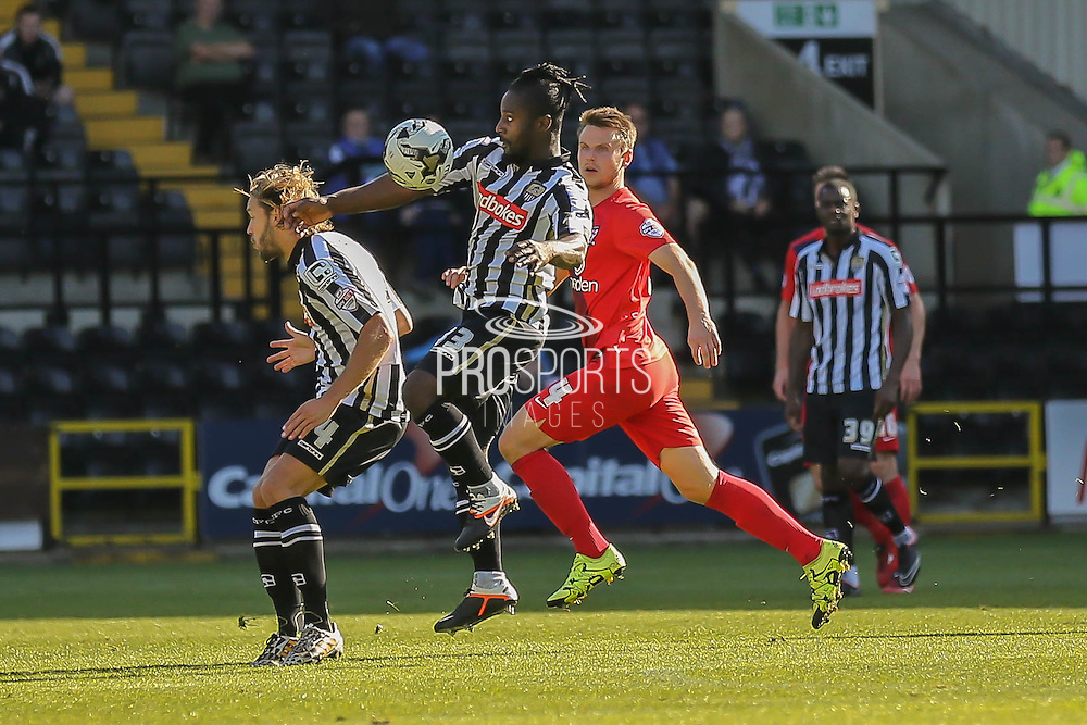 Notts County midfielder Stanley Aborahcontrols the ball  during the Sky Bet League 2 match between Notts County and York City at Meadow Lane, Nottingham, England on 26 September 2015. Photo by Simon Davies.