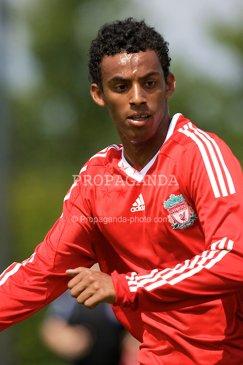 KIRKBY, ENGLAND - Saturday, July 26, 2008: Liverpool's Khaled Mesfan in action against Plymouth Argyle during a pre-season friendly match at the Academy. (Pic by David Rawcliffe/Propaganda)