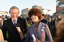 MARTIN CLUNES and LADY EMMA KITCHENER-FELLOWES at the 2014 Hennessy Gold Cup at Newbury Racecourse, Newbury, Berkshire on 29th November 2014.  The Gold Cup was won by Many Clouds ridden by Leighton Aspell.