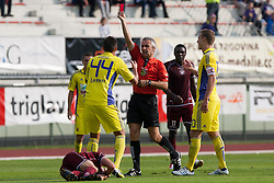 Arghus Soares of NK Maribor receiving red card during football match between NK Triglav and NK Maribor in 13th Round of Slovenian First League PrvaLiga NZS 2012/13 on October 7, 2012 in Sports park Kranj, Slovenia. NK Triglav defeated NK Maribor 1-0 (Photo by Grega Valancic / Sportida)