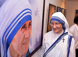 September 4, 2017 - Kolkata, West Bengal, India - Rev. Sr. Prema, Superior-General, Missionaries of Charity inaugurate of exhibition of painting and sculpture on Mother Teresa commemorating the first Anniversary of St Teresa's canonization  on September 4, 2017 in Kolkata. (Credit Image: © Saikat Paul/Pacific Press via ZUMA Wire)