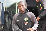Chelsea midfielder Ngolo Kante (7) arrives at the KCOM stadium before the Premier League match between Hull City and Chelsea at the KCOM Stadium, Kingston upon Hull, England on 1 October 2016. Photo by Ian Lyall.