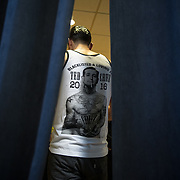 TOWSON, MD- APR18: A supporter of presidential candidate Ted Cruz waits to greet Cruz backstage at a rally for Cruz in Townson, Maryland, April 18, 2016, at the American Legion Post 22. (Photo by Evelyn Hockstein/For The Washington Post)