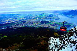 Leaving Mount Pilatus by cable car.
