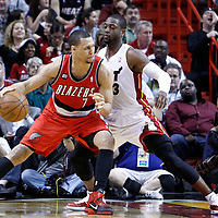 08 March 2011: Miami Heat shooting guard Dwyane Wade (3) defends on Portland Trail Blazers shooting guard Brandon Roy (7) during the Portland Trail Blazers 105-96 victory over the Miami Heat at the AmericanAirlines Arena, Miami, Florida, USA.