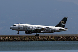 Frontier Airlines Airbus A319-111 (N935FR) lands at San Francisco International Airport (SFO), Millbrae, California, United States of America