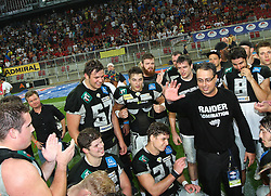 23.07.2016, Woertersee Stadion, Klagenfurt, AUT, AFL, Austrian Bowl XXXII, Swarco Raiders Tirol vs Projekt Spielberg Graz Giants, im Bild Ansprache von Shuan Fatah (Swarco Raiders Tirol, Head Coach) nach dem Sieg // during the Austrian Football League Austrian Bowl XXXII game between Swarco Raiders Tirol vs Swarco Raiders Tyrol at the Woertersee Stadion, Klagenfurt, Austria on 2016/07/23. EXPA Pictures © 2016, PhotoCredit: EXPA/ Thomas Haumer