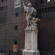 Statue of Saint John Nepomuceno on the parade gound inside Castello Sforzesco, Milan, Italy