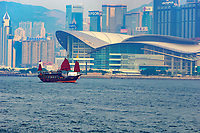Old junk in the harbour with strong air pollution, Hong Kong, Hong Kong, August 2008   Photo: Peter Llewellyn