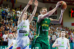 Klemen Prepelic of Slovenia vs Arnas Butkevicius of Lithuania during basketball match between National teams of Slovenia and Lithuania in First Round of U20 Men European Championship Slovenia 2012, on July 14, 2012 in Domzale, Slovenia. Slovenia defeated Lithuania 87-81. (Photo by Vid Ponikvar / Sportida.com)