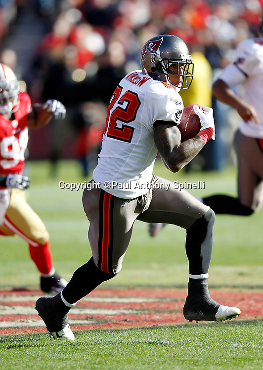 Tampa Bay Buccaneers tight end Kellen Winslow (82) catches a pass and looks for yardage after the catch during the NFL week 11 football game against the San Francisco 49ers on Sunday, November 21, 2010 in San Francisco, California. The Bucs won the game 21-0. (©Paul Anthony Spinelli)