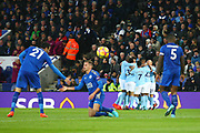 Manchester City players celebrate the goal by Manchester City midfielder Kevin de Bruyne (17) during the Premier League match between Leicester City and Manchester City at the King Power Stadium, Leicester, England on 18 November 2017. Photo by John Potts.